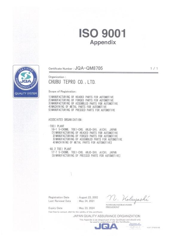 ISO9001 Appendix 210524